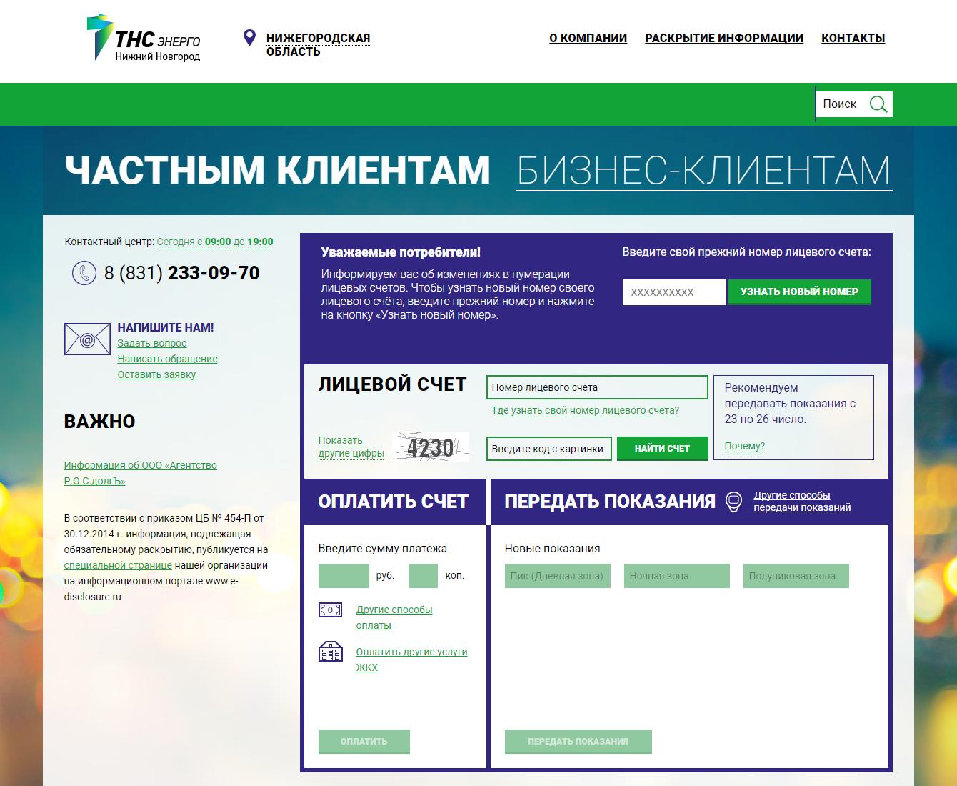 Личный кабинет ТНС Энерго Нижний Новгород