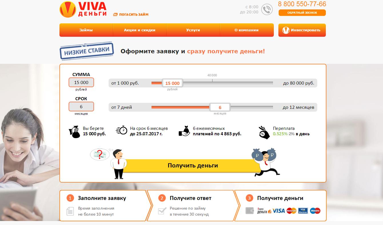 Личный кабинет VIVA Деньги